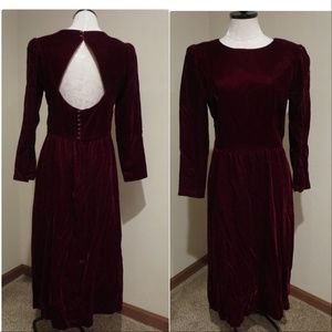 Vintage Lanz Orignals open back velvet dress maxi